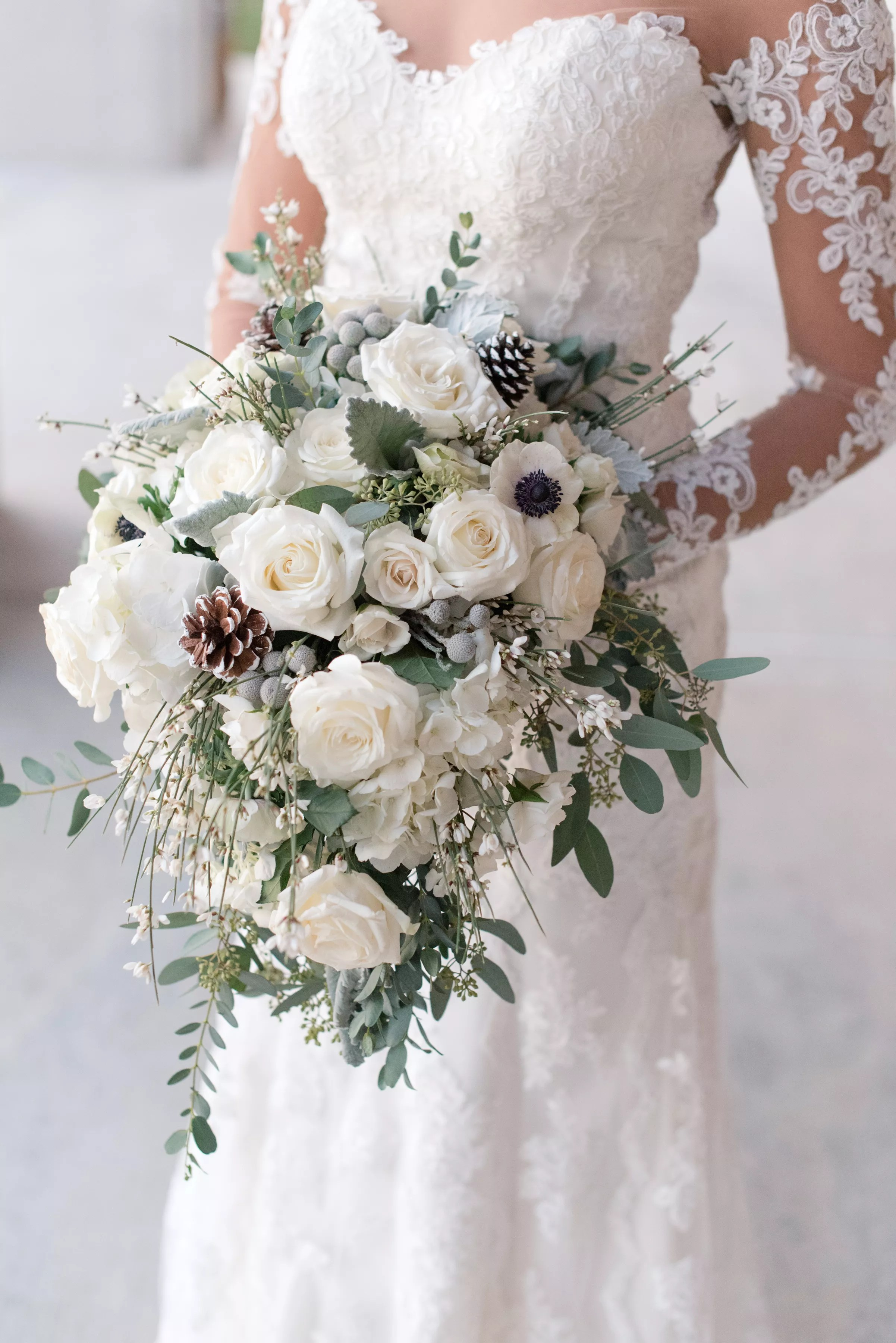 Wintery White Rose Pine Cone And Silver Brunia Bouquet
