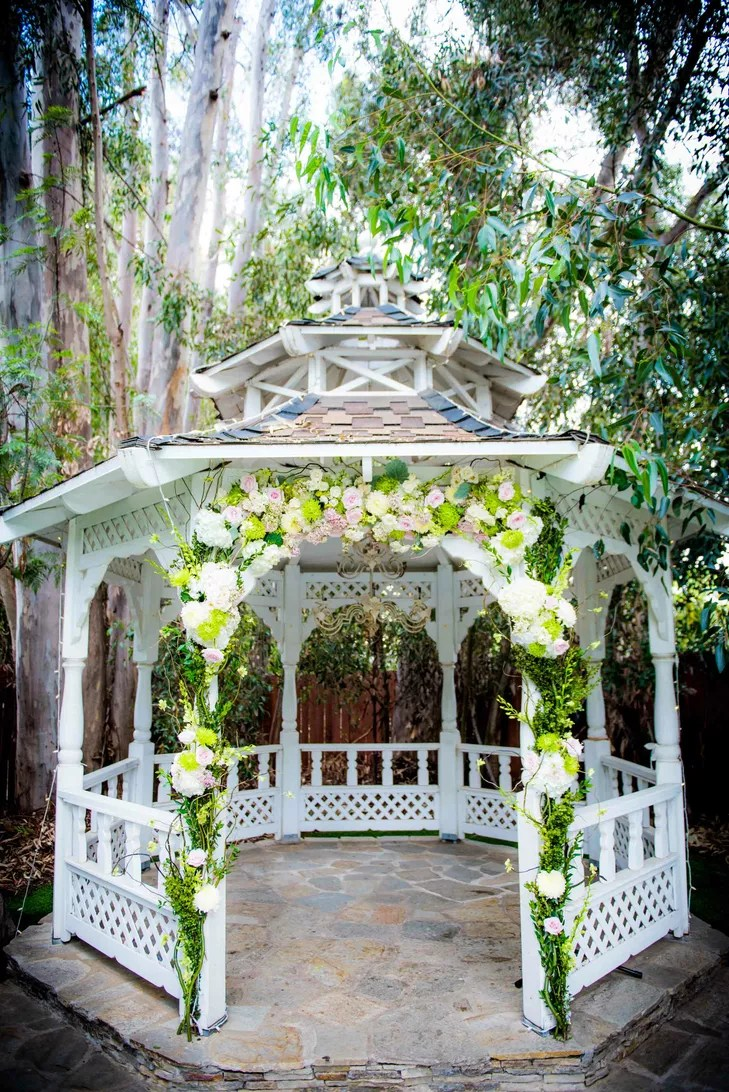 Pastel Flower Arrangement Wedding Gazebo Arch
