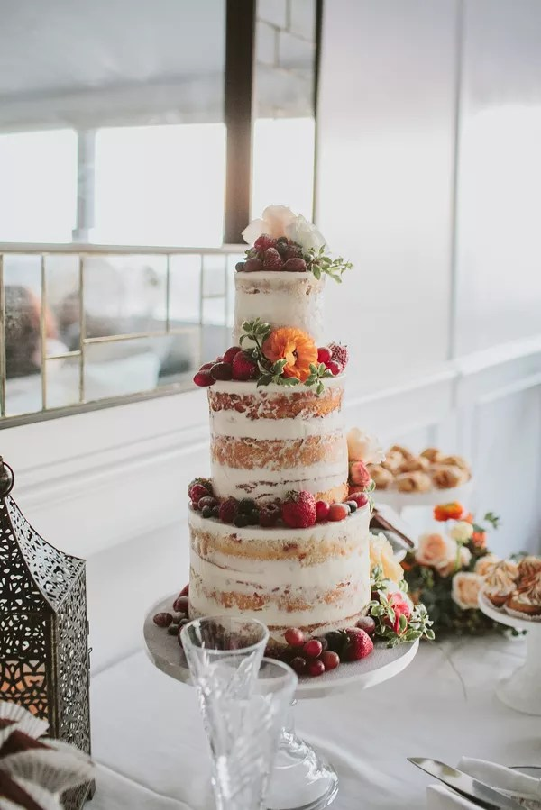 Fruit Wedding Cakes   Desserts Colorful Naked Cake With Orange Blossoms and Fruit