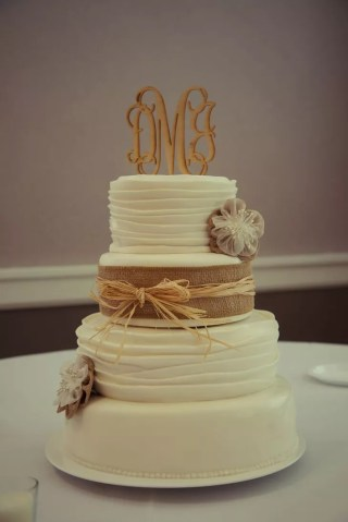 Rustic Wedding Cake with Burlap and Straw Ribbon and Monogram Cake     Rustic Wedding Cake with Burlap and Straw Ribbon and Monogram Cake Topper