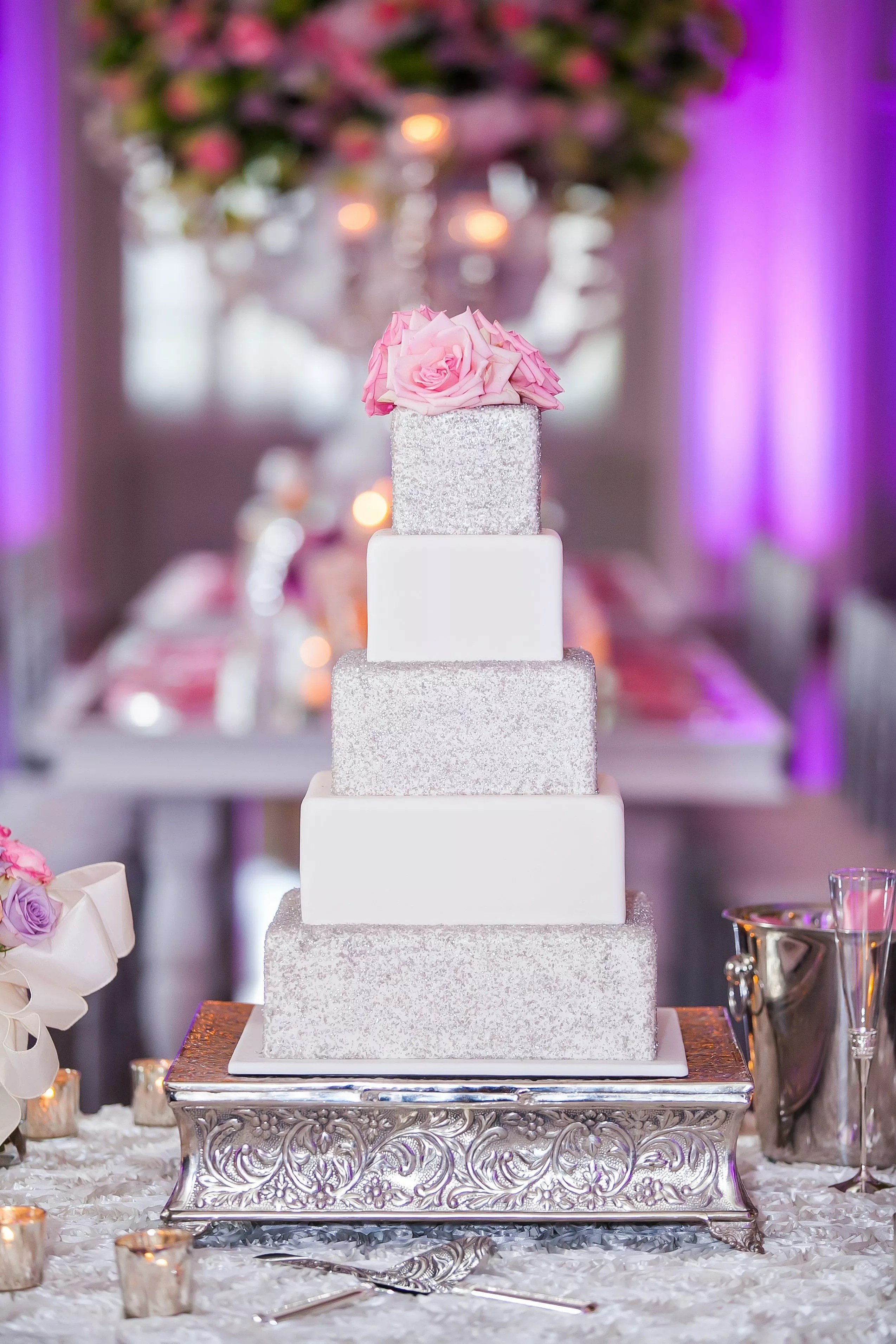 Glam Wedding Cake With Silver Glitter