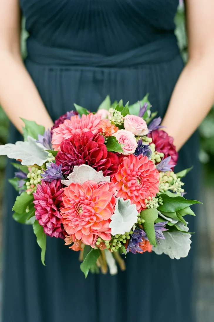 Bright Pink Dahlia And Rose Bridesmaid Bouquet