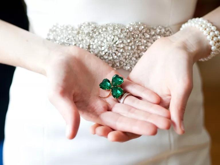 Shamrock emerald green wedding pin