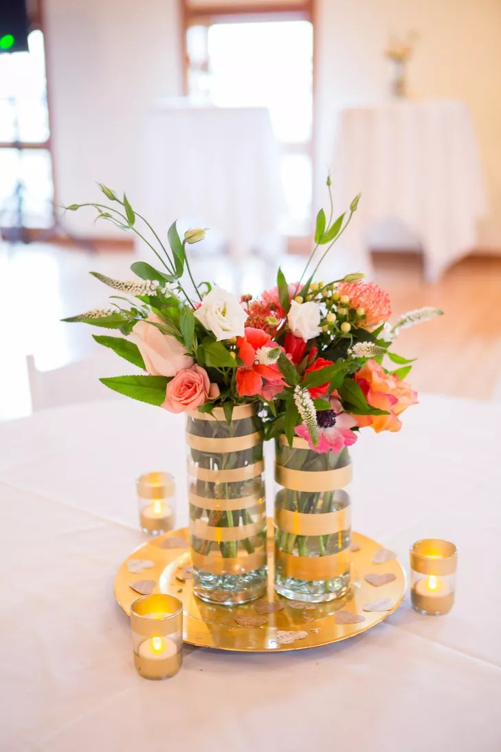 Understated Coral And Gold Centerpieces