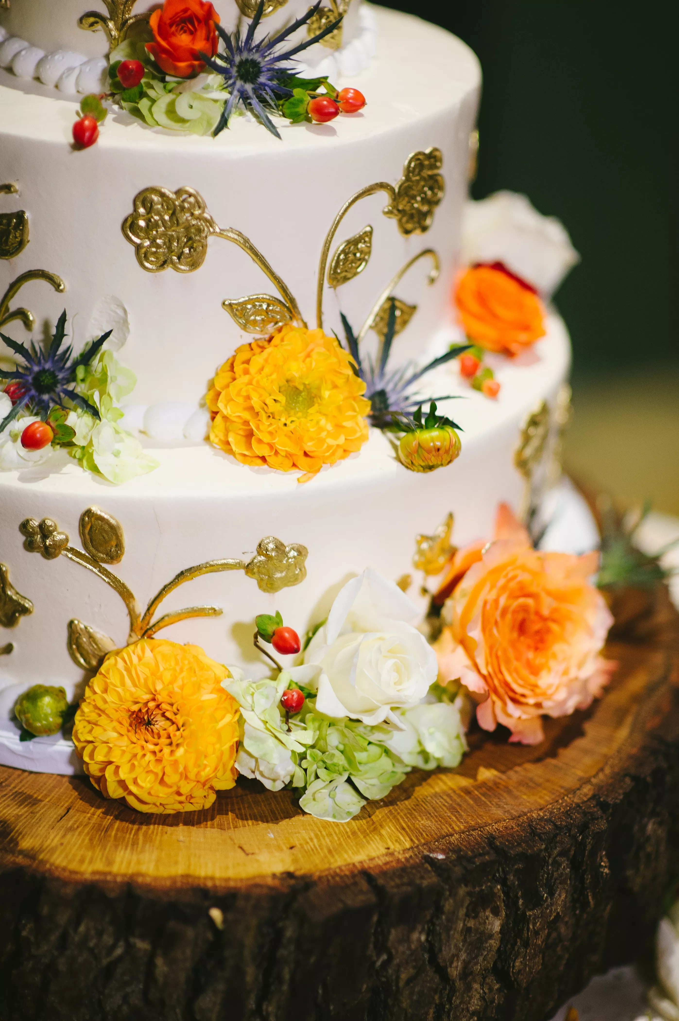 Earth Tone Fall Inspired Wedding Cake