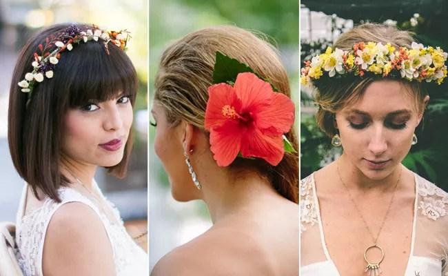 fresh flower bridal hair ideas