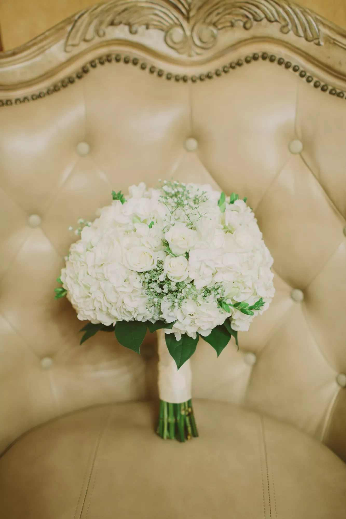 White Rose And Babys Breath Bouquet With Gold Ribbon And