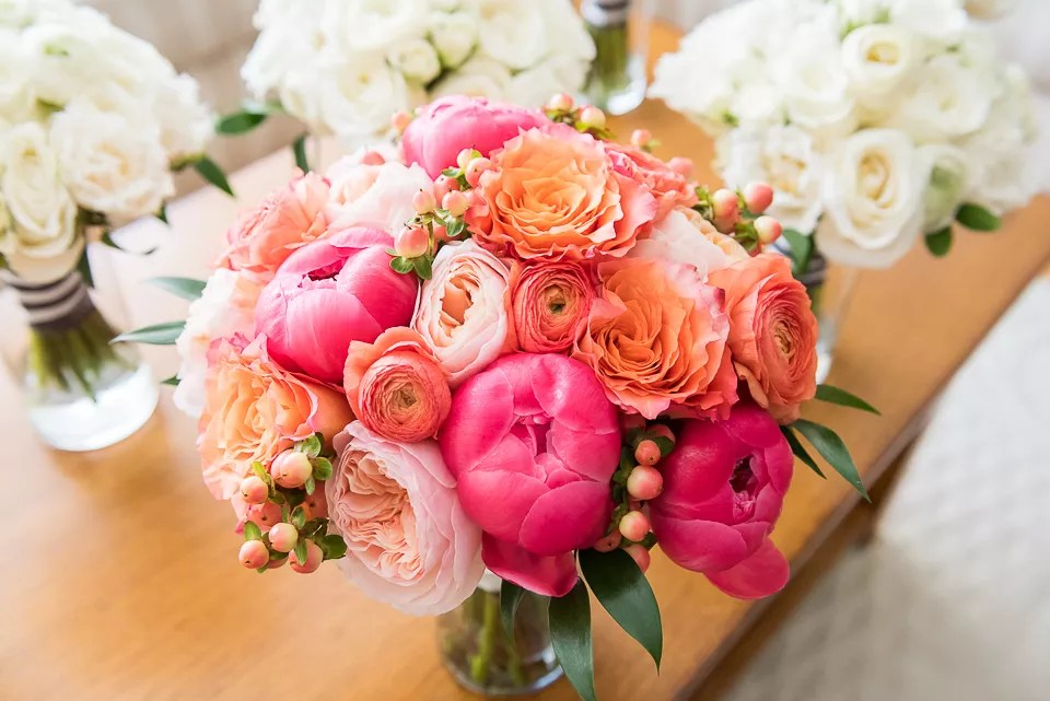 Coral Ranunculus And Pink Peony Bouquet