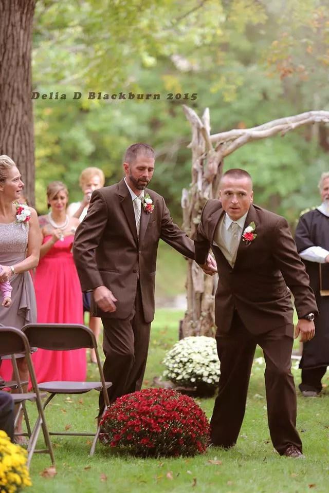 Dad and stepdad at wedding