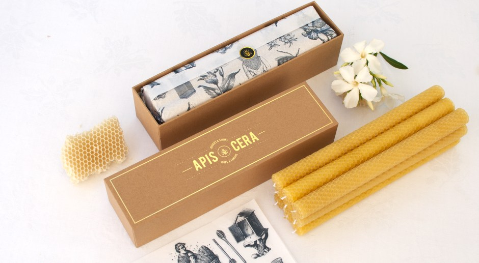Hand rolled beeswax candles - Lucienne - box of 9