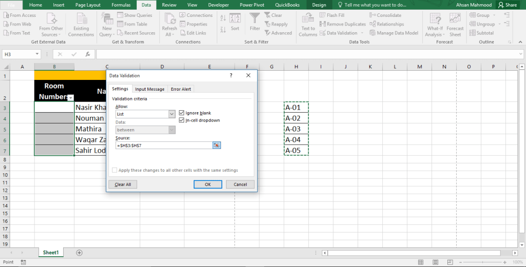 Excel Data Validation