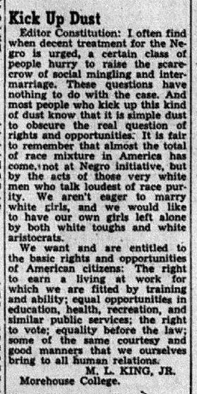 Image of M.L. King Jr.'s letter to The Atlanta Constitution. The newspaper published the letter Aug. 6, 1946.
