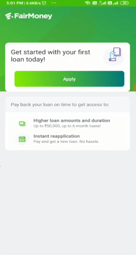Screenshot of Fairmoney App