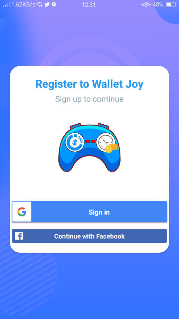 Screenshot of Wallet Joy