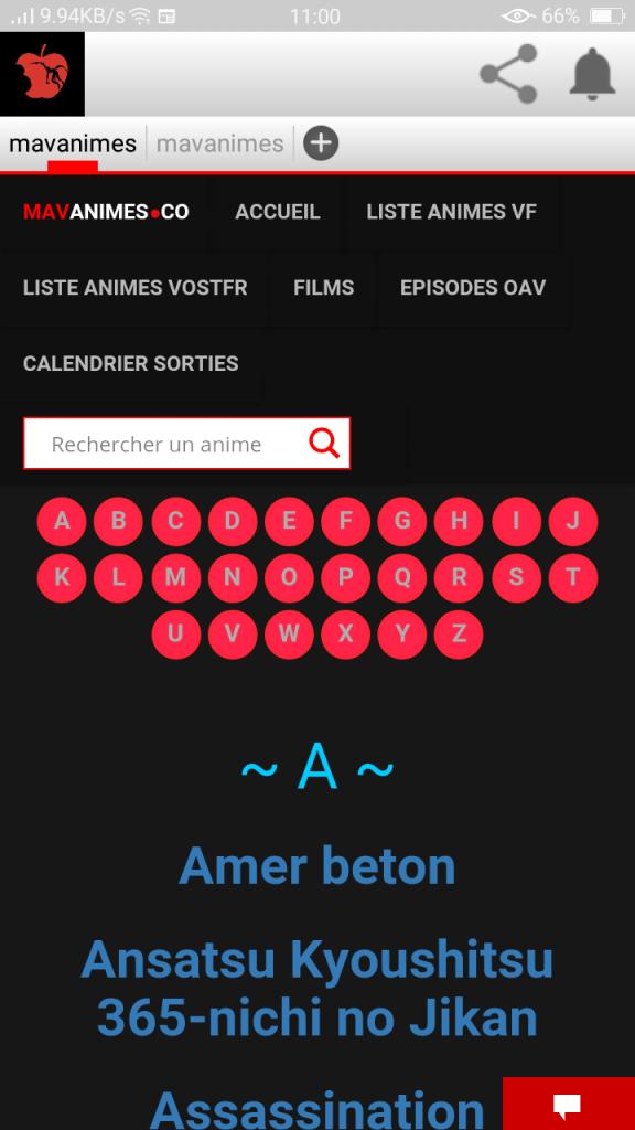 Screenshot of MavAnime App
