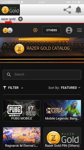 Screenshot of Razer Gold App