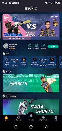 Screenshot of BeCric App