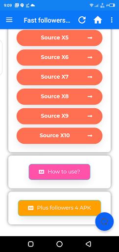 Screenshot of Fast Followers x1 App
