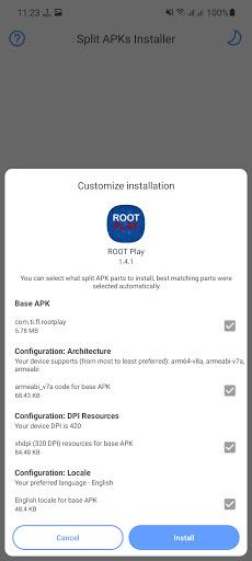 Screenshot of Root Play App