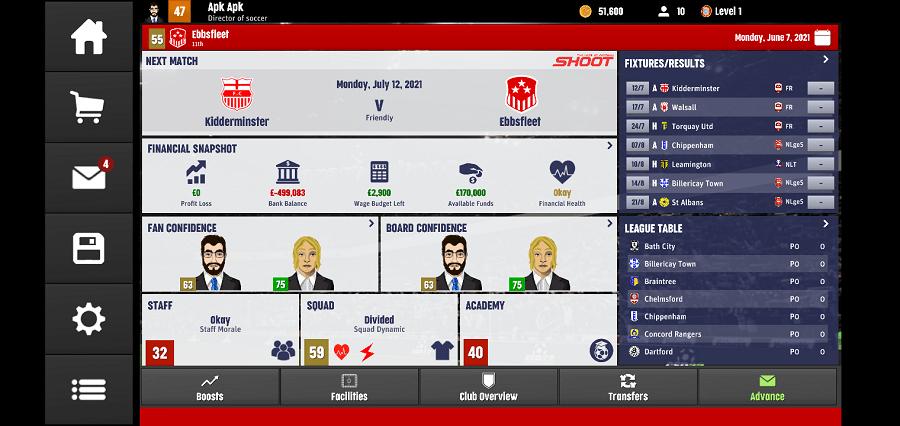 Screenshot of Club Soccer Director 2022 Download