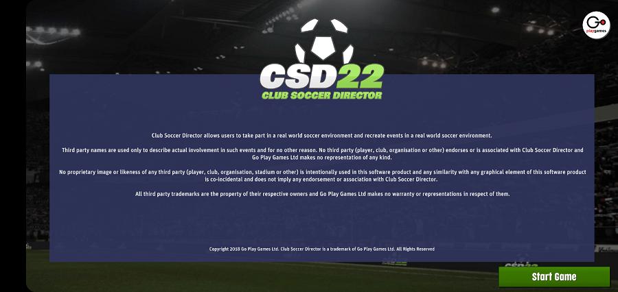 Screenshot of Club Soccer Director 2022 Game