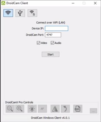 Screenshot of DroidCam Pro App