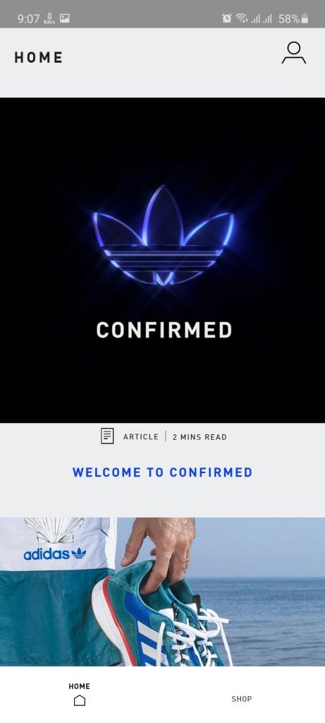 Screenshot of Adidas Confirmed App Download
