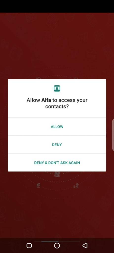 Screenshot of Alfa App