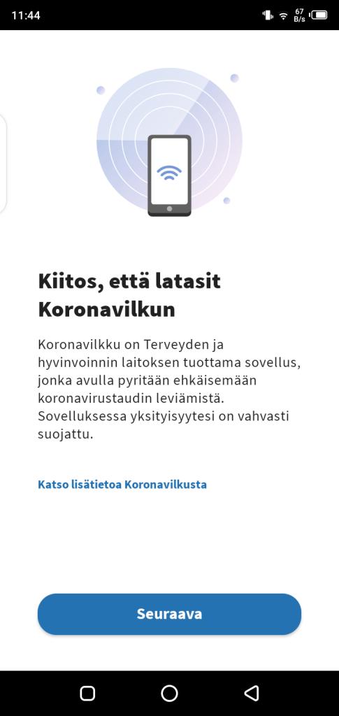Screenshot of Koronavilkku App