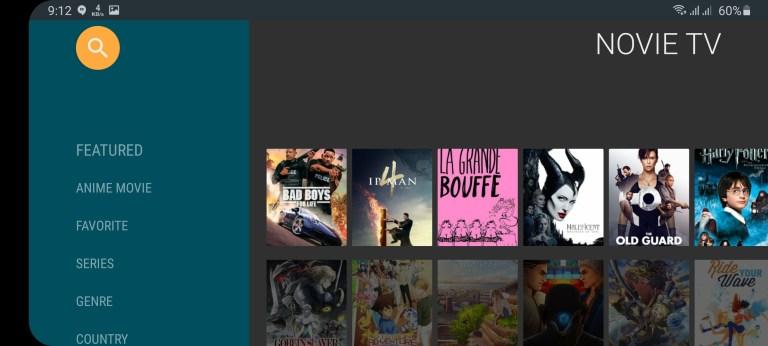 Screenshot of Novie TV App
