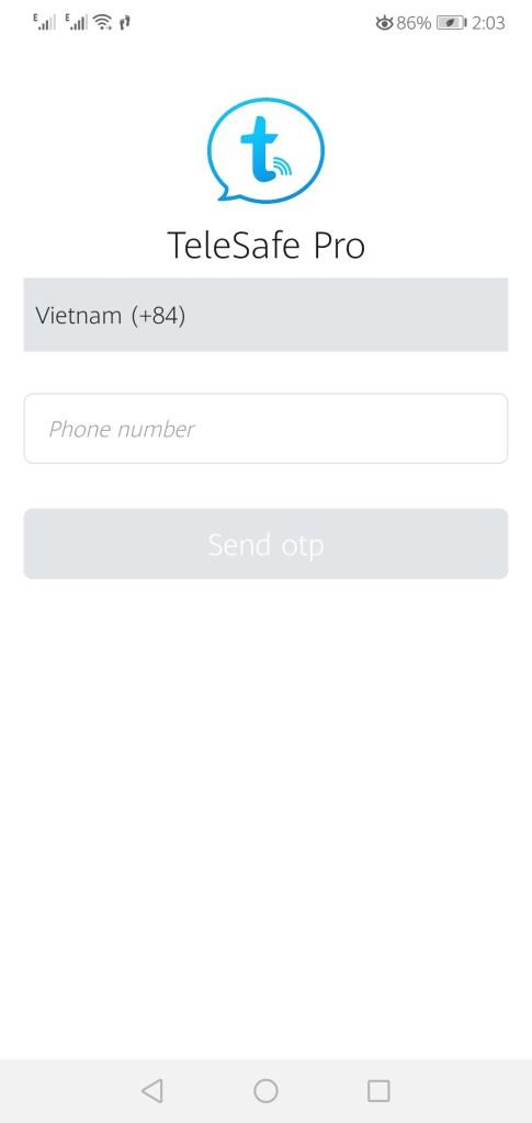 Screenshot of TeleSafe App