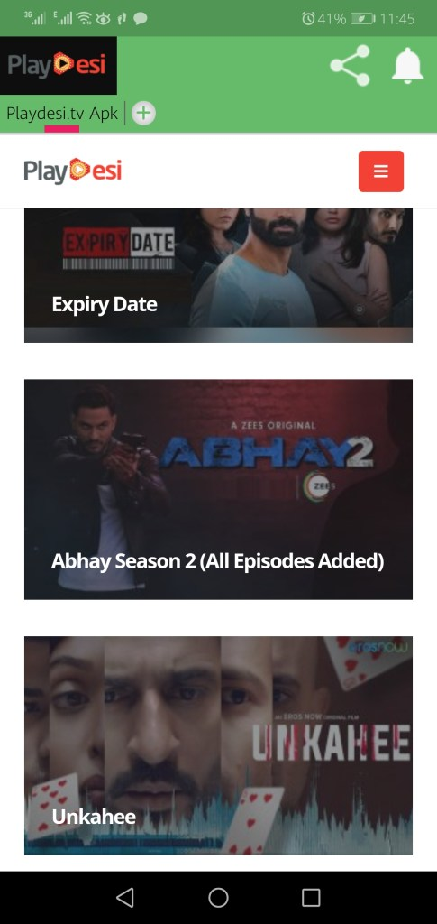 Screenshot of Playdesi.tv App