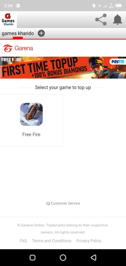 Screenshot of Games Kharido Top Up