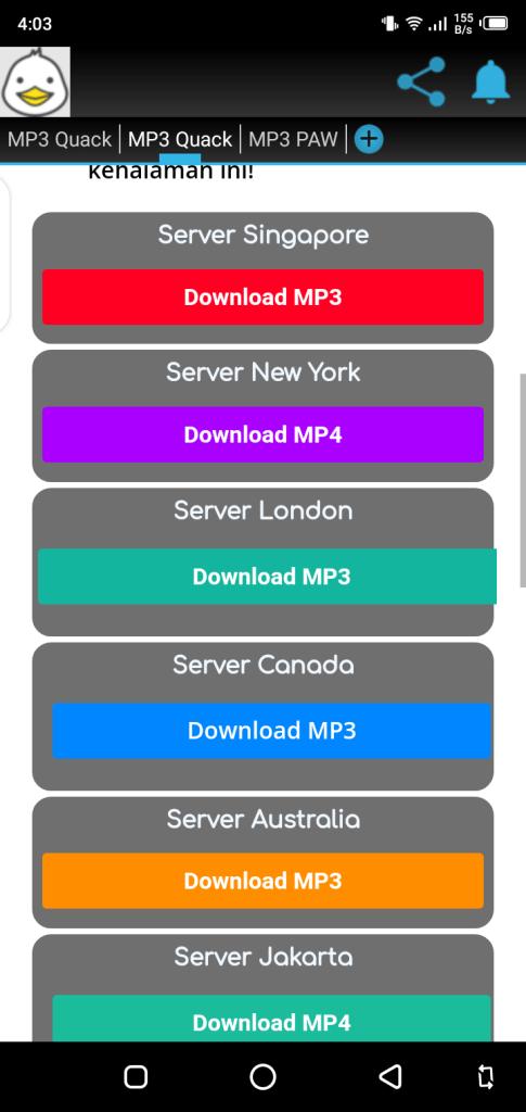 Screenshot of MP3 Quack App Download