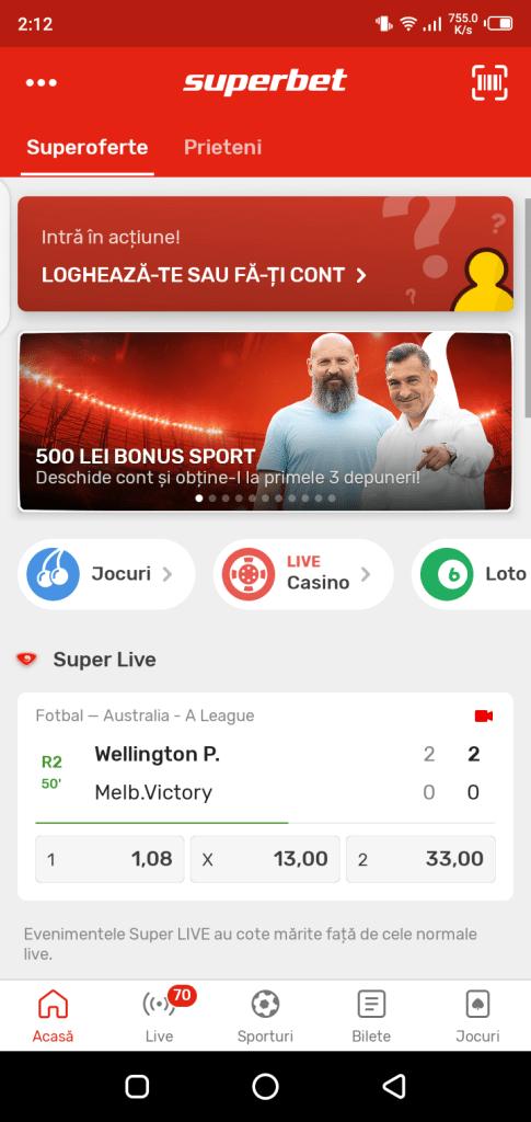 Screenshot of SuperBet App