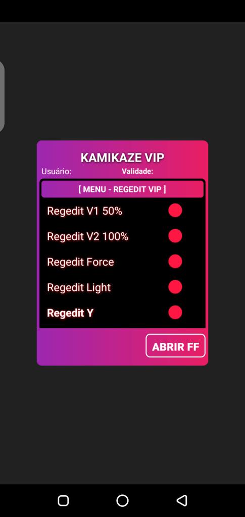 Screenshot of Regedit VIP FF