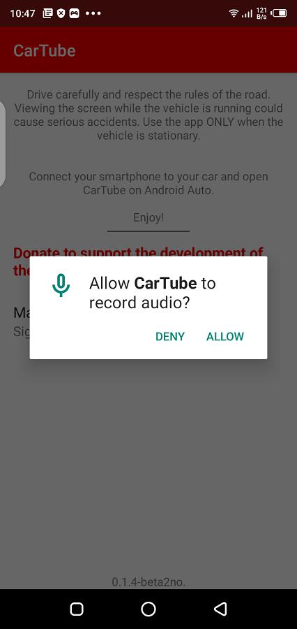 Screenshot of CarTube App