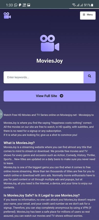 Screenshot of Moviesjoy App