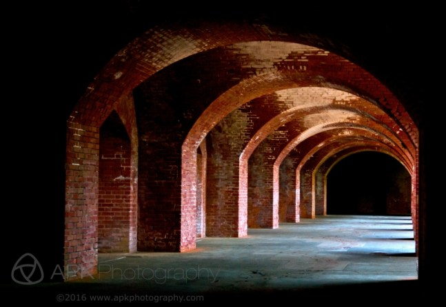 Various angles and views of the architecture at Fort Point National Historic Site in San Francisco