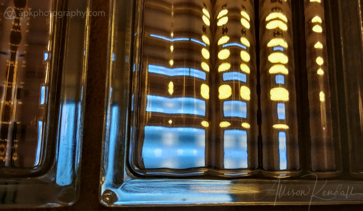 Winter light and glass block wall abstract