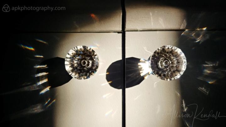 Prism crystal door knobs, winter light