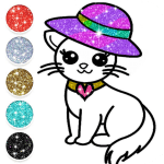 Download Cute Kitty Coloring Book For Kids With Glitter 4.0 APK For Android