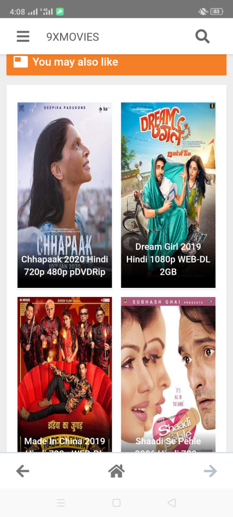 Screenshot of 9xmovies For Android