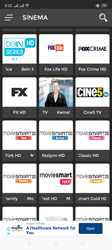 Screenshot of Inat TV Pro App