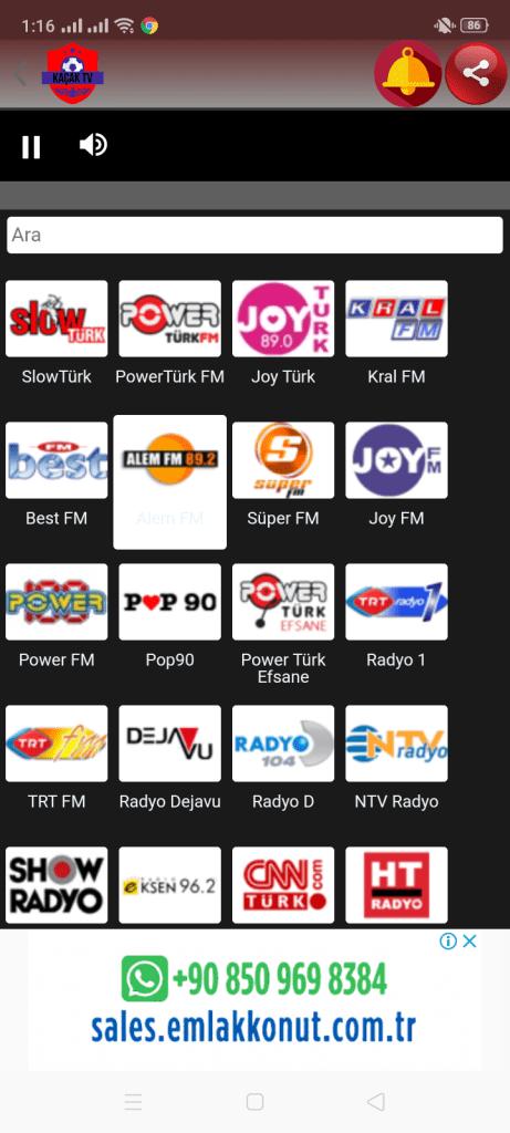 Screenshot of Kacak TV App