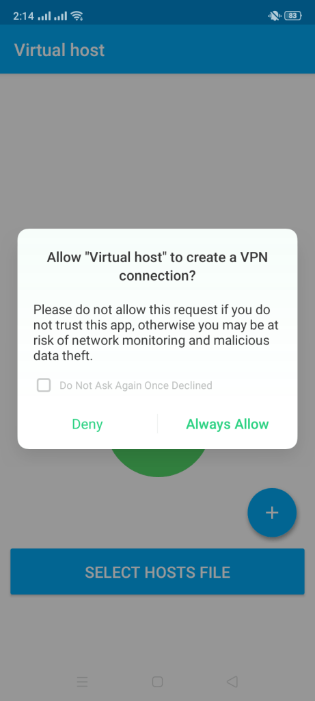 Screenshot of Virtual Host Apk