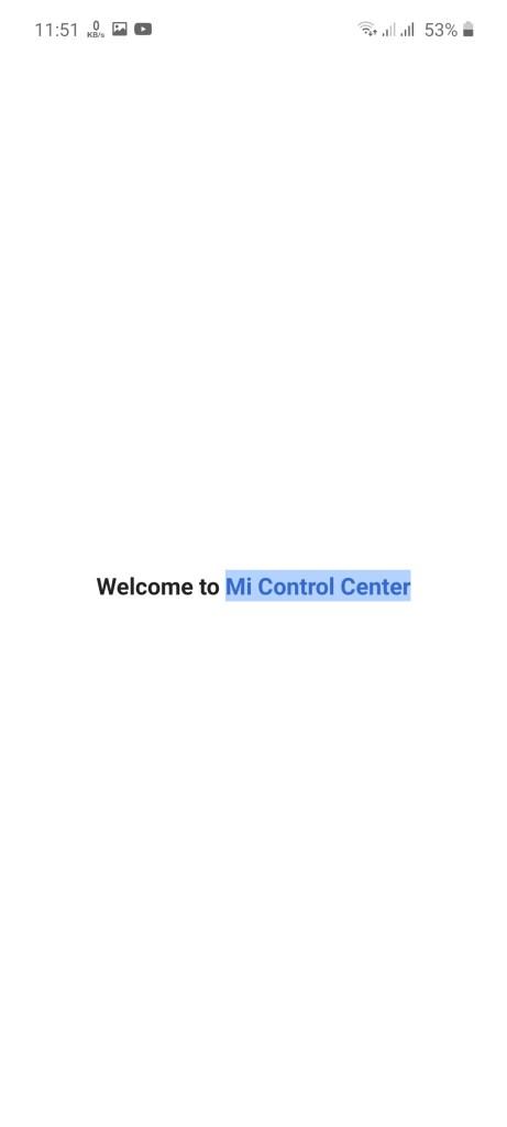 Screenshot of MI Control Center App