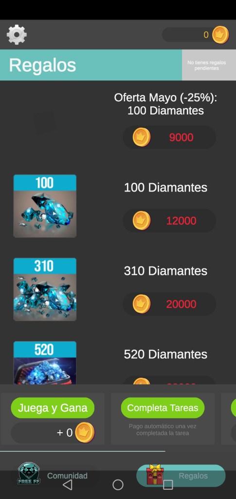 Screenshot of FF Diamantes App