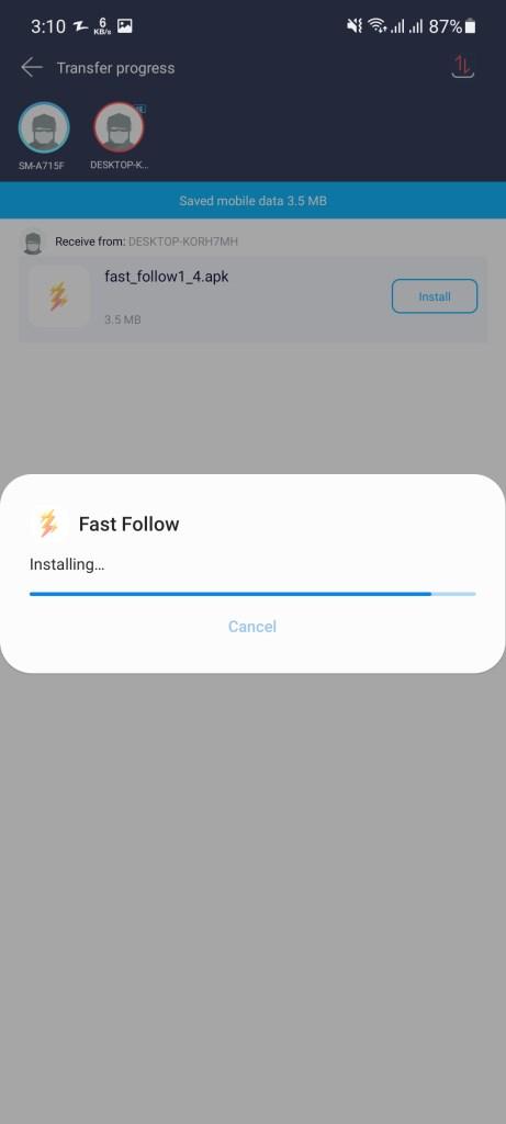 Screenshot of FastFollow