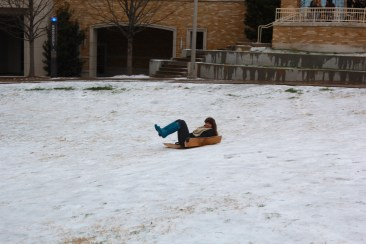 Ice and snow covers the Campus Commons, Monday, Feb. 23. (TCU 360/Alexandra Plancarte)